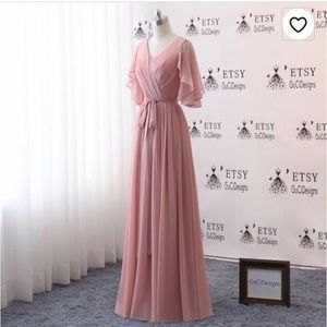 Floorlength dusty rose dress